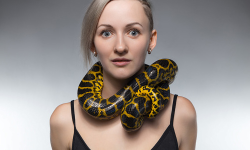 Woman with boa constrictor around her neck